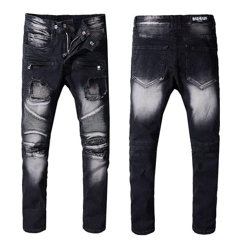 timeless design d5f78 0e41a Mens Jeans Designer Distressed Motorcycle Biker Jeans Rock Revival Skinny  Slim Ripped Hole Straight Men's Denim Pants Sizes 29-42