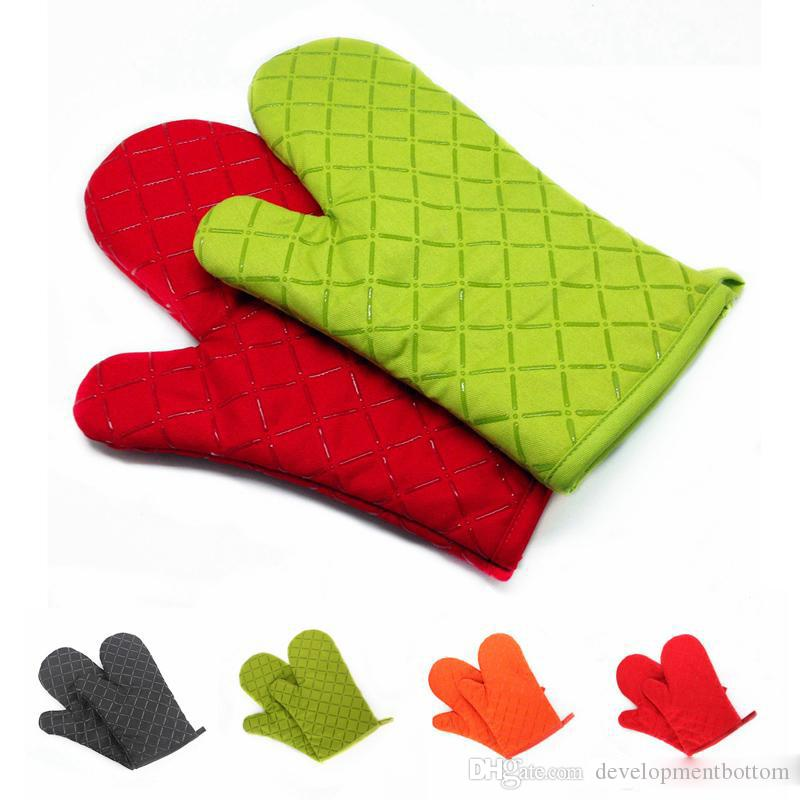 200 degrees High temperature gloves Thick Double Kitchen Baking Cook barbecue Insulated Padded Oven Gloves Mitt heat resistant