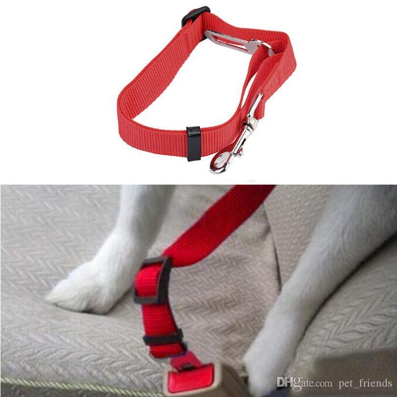 Regolabile Sedile Pet Dog Safety Belt nylon animali Cucciolo Seduta del guinzaglio del cane del cablaggio della cintura di sicurezza del veicolo Pet Supplies Viaggi clip
