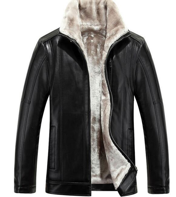 158d555cae4 HOT 2018 Winter Men New Leather Jacket Business Casual Velvet Bigger Sizes  Coat Jacket Club Jacket Colour Coat Bed Online with  158.53 Piece on  Xaviere s ...