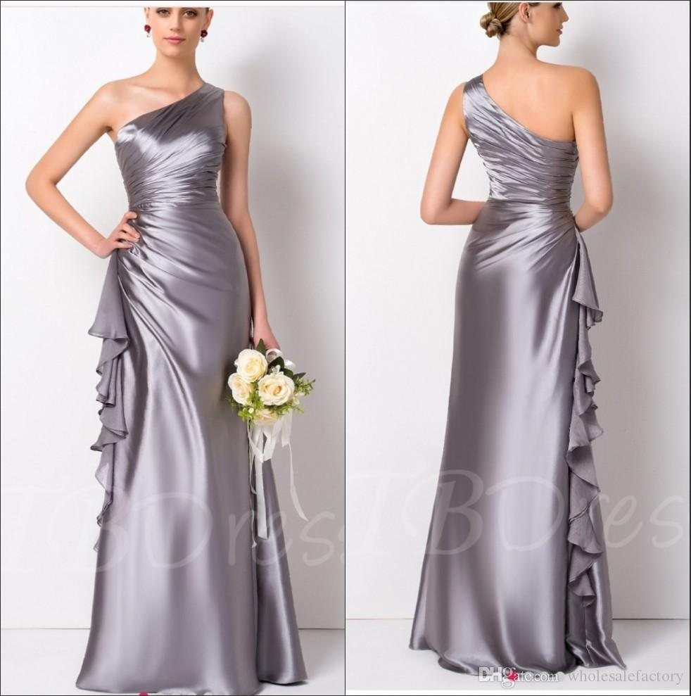 2018 Elegant One Shoulder Satin Mermaid Long Bridesmaid Dresses Ruffles Floor  Length Evening Dress Prom Gowns Wedding Party Dresses Bridal Party Dresses  ... 09a01d70e720