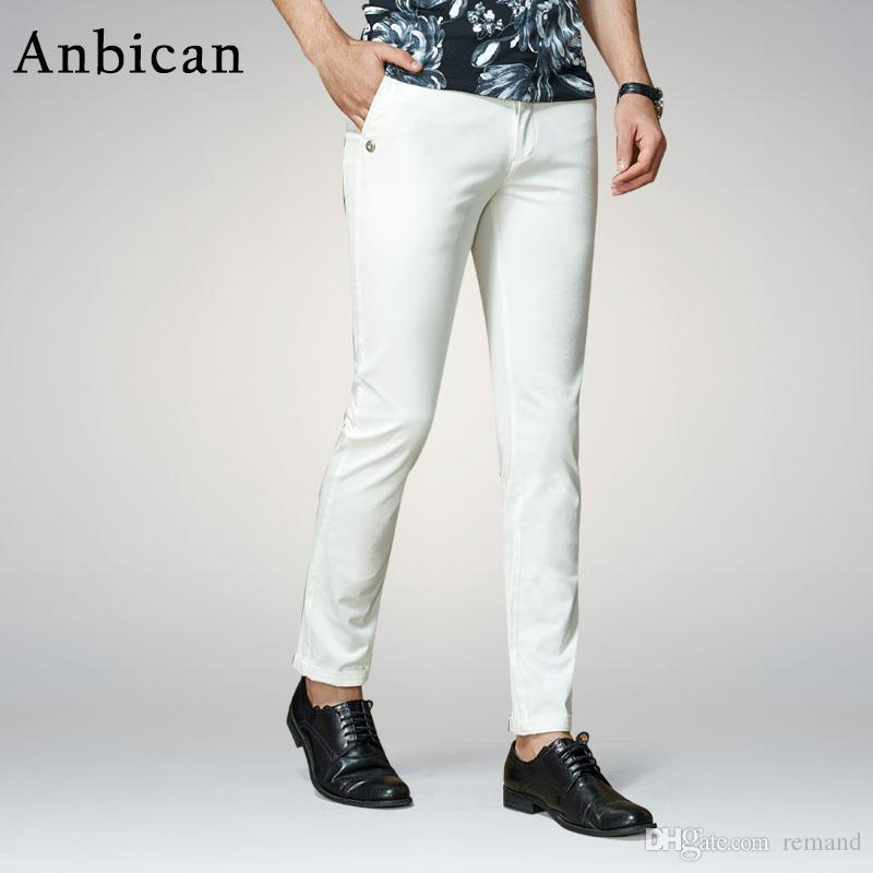 113d1741969 2019 Wholesale Anbican Fashion White Casual Pants Men 2017 Spring And  Summer Office Work Mens Slim Dress Pants Straight Male Chino Trousers From  Remand