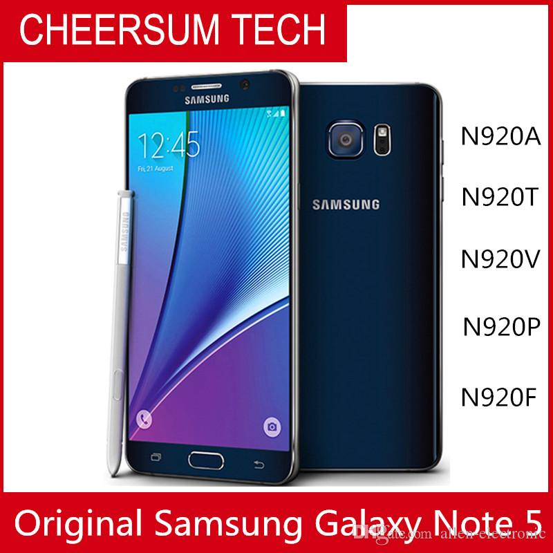 2018 Hot sell Original Unlocked Samsung Galaxy Note 5 N920 Octa Core 4GB  RAM 32GB ROM LTE 16 0MP 5 7 Mobile Phone DHL free 1pc