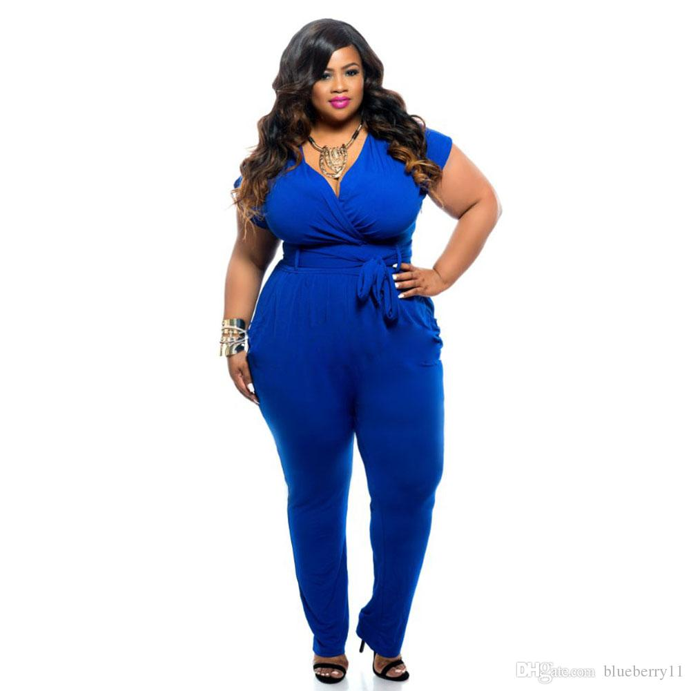 92de851d1feaa 2018 Summer Fashion Womens Bandage Bodycon Sexy Clubwear Romper Jumpsuit  Black Blue Party Pants Plus Size L 3XL From Blueberry11