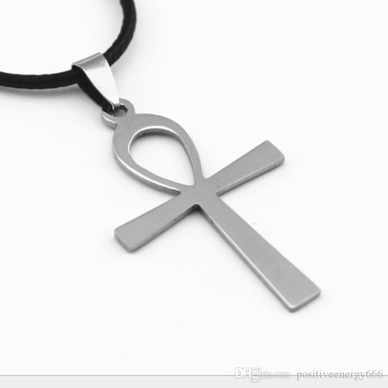 Moda Ankh Key Cross Collana pendente in acciaio inox Egiziano simbolo misterioso Amuleto antico Uomini Donne regalo antico ANKA Croce