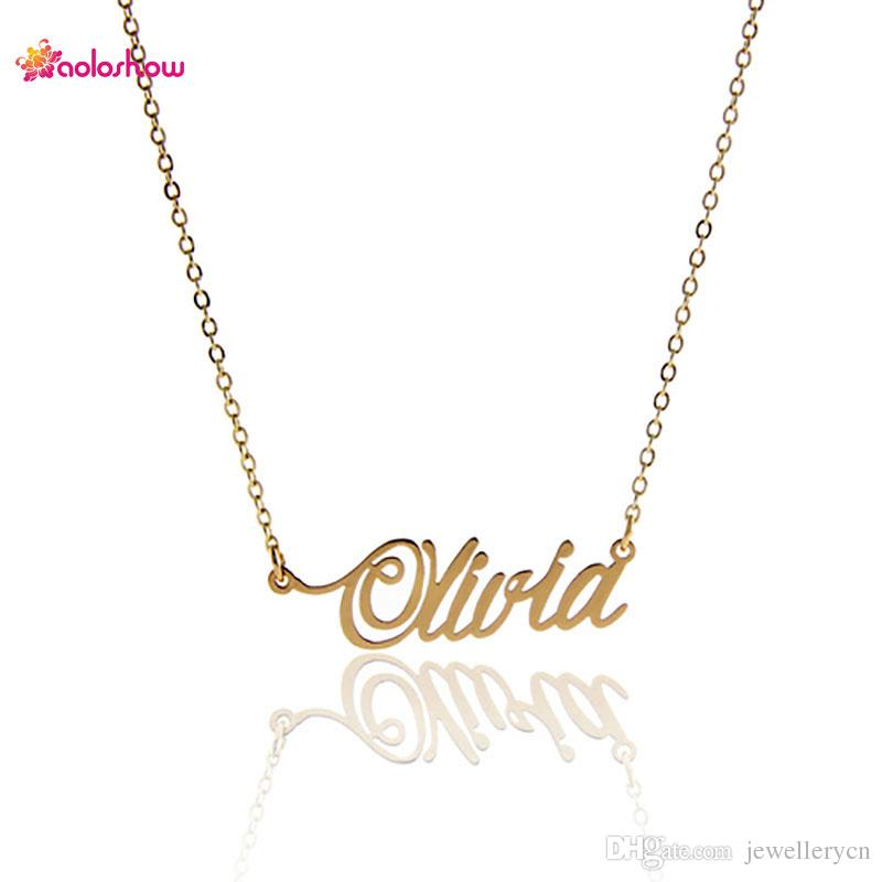 2018 14k gold and silver plated stainless steel name necklace 2018 14k gold and silver plated stainless steel name necklace personalized olivia customized nameplate necklace for women nl 2420 from jewellerycn aloadofball Images