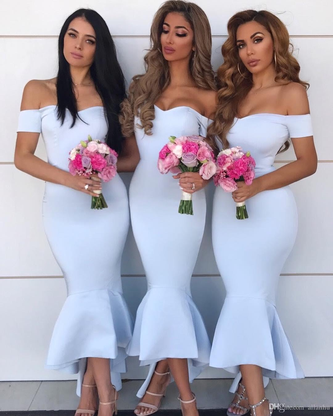 Sexy Off Shoulder Baby Blue 2019 New Short Mermaid ...
