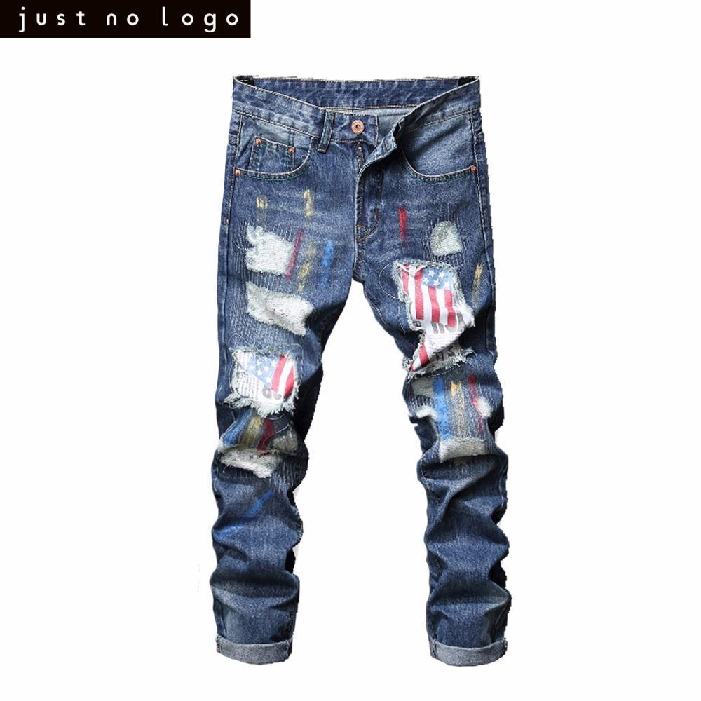 11cb79b18ce68 Acheter Hommes Bleu Clair Maigre Déchiré Jeans Droite Drapeau Américain  Motif Patché Slim Fit Denim Pantalon Pour Hommes Pantalon De $66.09 Du  Bairi ...