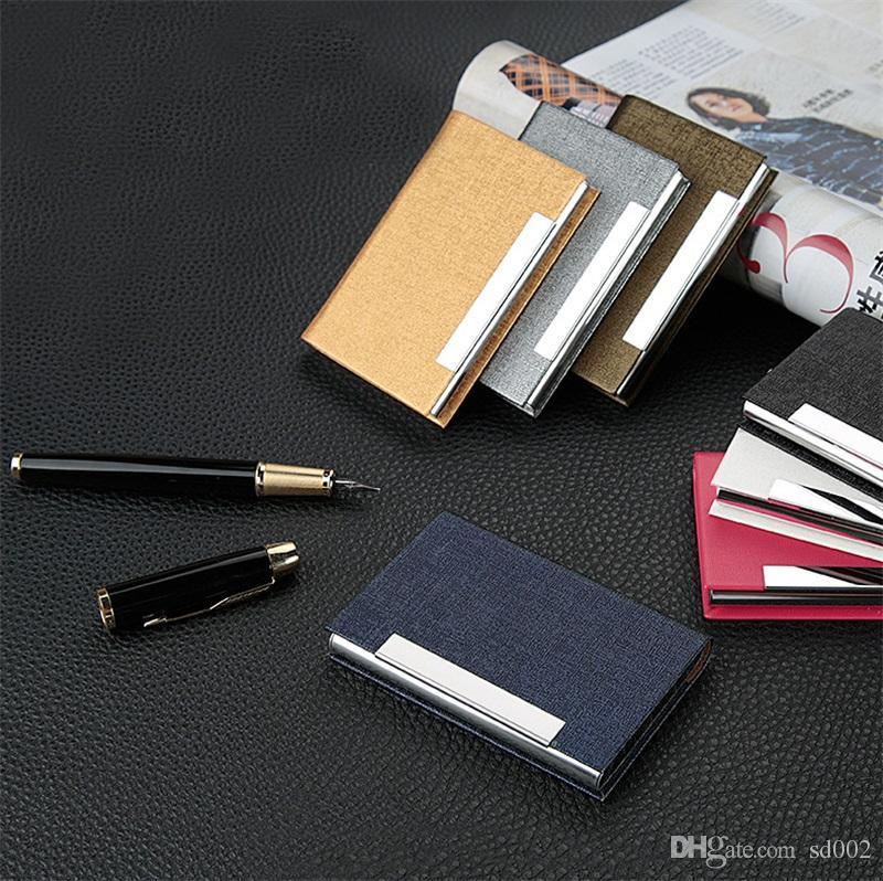 Titular de Cartões de Metal Portátil de Aço Inoxidável PU Arquivos de Cartão de Visita Caso Material de Escritório Multi Color 4 9bha C R