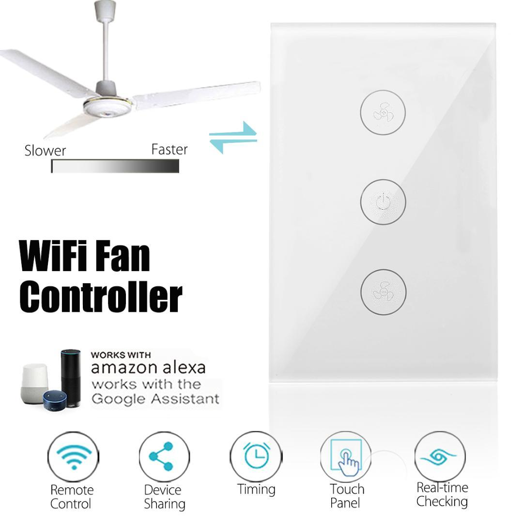 US Standard 10A WIFI Smart Wall Switch Ceiling Fan Controller Touchs Speed  Switch Panel Work with Alexa Google Home 400W