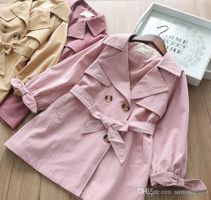 53bc69dfaa55 Autumn Kids Tench Coat Girls Lapel Bows Long Sleeve Princess Outwear ...