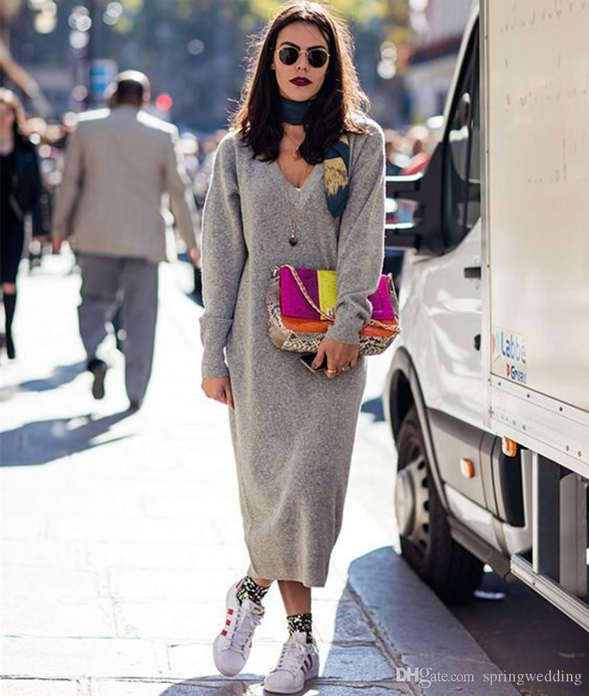2018 Autumn Winter Knitted Women Pencil Dress Sexy Deep V Neck Long Sleeve  Warm Sweater Dress Fashion Casual Vestidos FS5836 Summer Dress Short Dresses  From ... 30ea11496