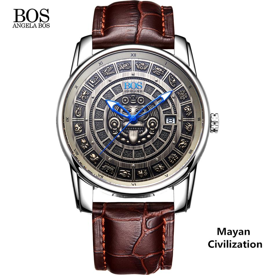 2c582e6c2 ANGELA BOS Retro 3D Maya Calendar Dial Stainless Steel Automatic ...