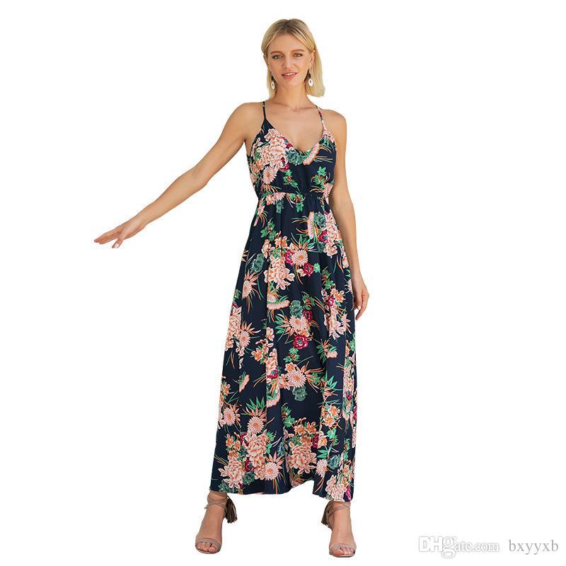 6dce45e9851 Womens Holiday Button Dress Bohemian Summer Beach Long Strap Sexy Maxi Swim  Sun Dress Printed Beach Skirt 2525 White Evening Dresses Long Black Dresses  From ...