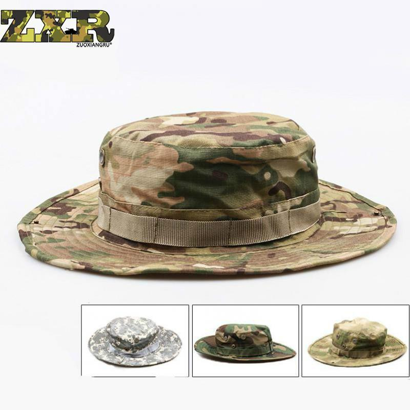 4027b3ea2f2be 2019 Tactical Airsoft Sniper Camouflage Boonie Hats Nepalese Cap Militares Army  Mens Military Hiking Hats Summer Bucket Hat Fishing From Jianpin