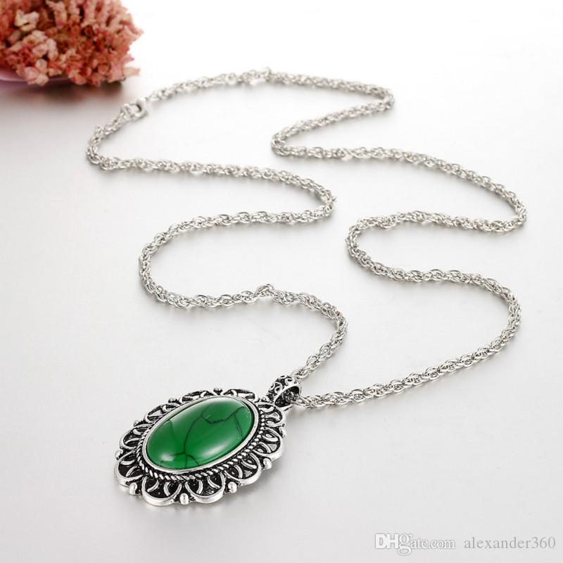 """Retro Oval Turquoise Necklaces Natural Gemstone Necklaces 29"""" Silver Plated Chain Women Pendant Necklace Jewelry Gifts"""
