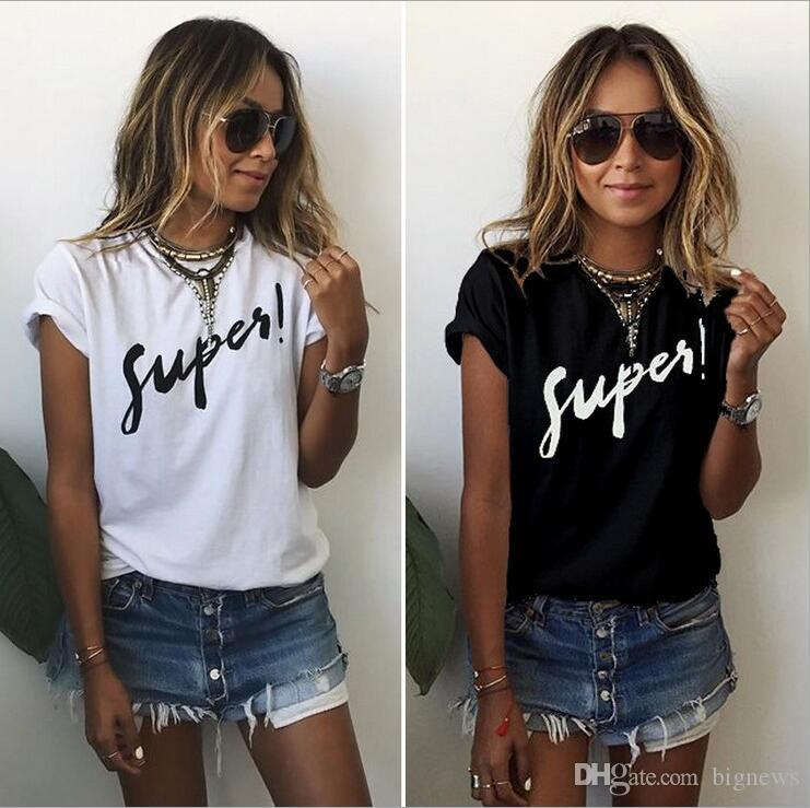 99e57ba78 Brand Designer-women't S-shirt Supes Letter Print T-shirts Solid ...