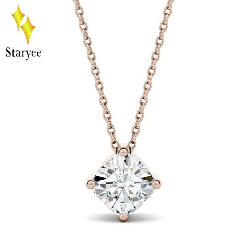 fa6a2ae36621 Compre 14K Solid Rose Gold 0.5CT Cojín Moissanite Collares Para Mujeres  Cadena De Oro Solitario Engegament Marca De Boda Colgante De Diamantes A   733.01 Del ...