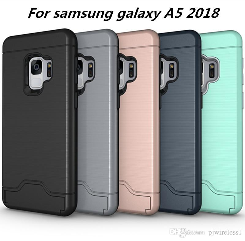 finest selection 5a78a ba8cf Card Slot Case For samsung galaxy A5 2018 For Samsung galaxy A8 2018 Armor  case hard shell back cover with kickstand C