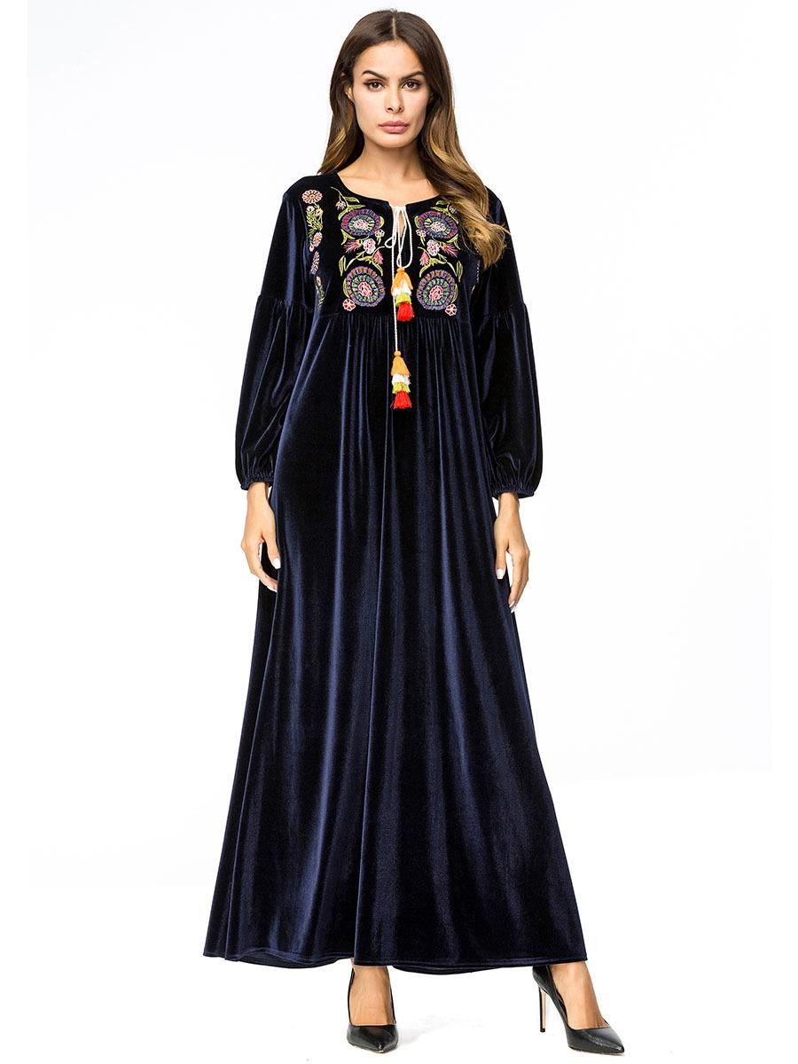 Navy Blue 4XL Plus Size Women Winter Velvet Dress Vintage Tassel ...