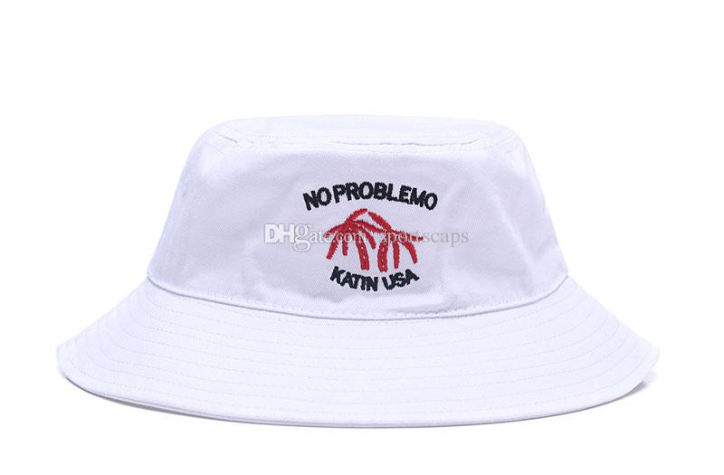 3ccb00f5843 New Embroidered Bucket Hats Outdoor Fishing Brim Summer Cap For Travel  KATIN USA NO PROBLEMO Letters Bones Fisherman Caps Bucket Hats Brim Hat Sun  Hat ...
