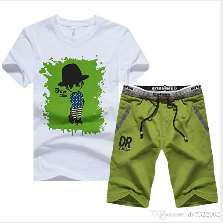 Tracksuit Men Shorts Summer Brand Tshirt Men Letter Printed Sportsuit Set 2018 Fashion Suit Male Famous Brand t-shirt
