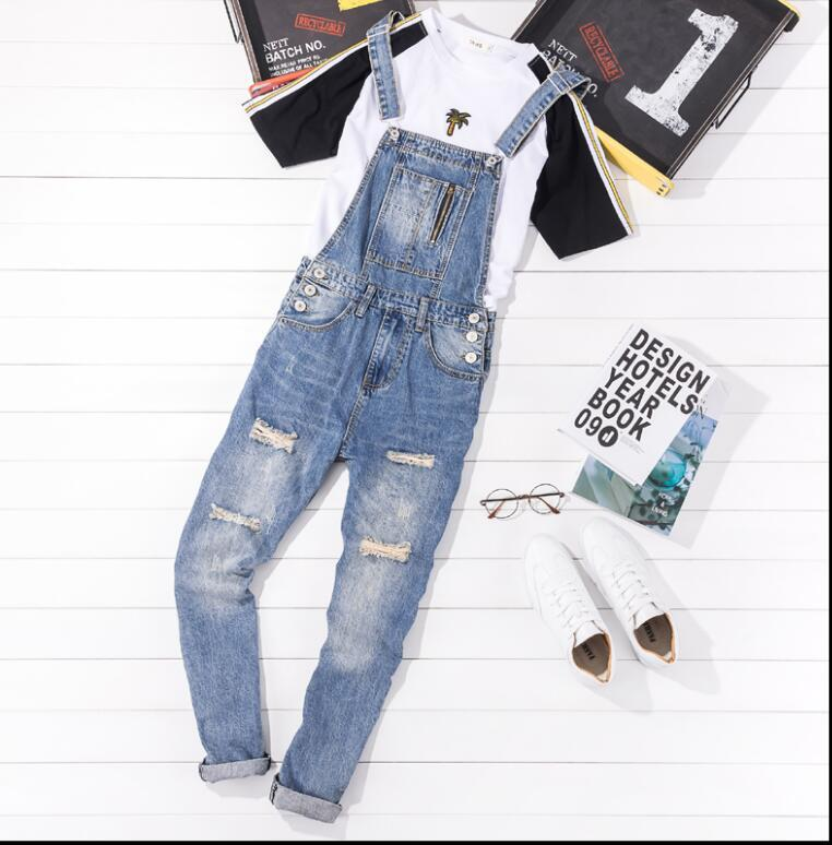 03986108204 2019 Europe And The United States Retro Denim Overalls Pants Men S Summer  Hole Jeans Slim Korean Version Of The Suspenders Jeans From Rachaw
