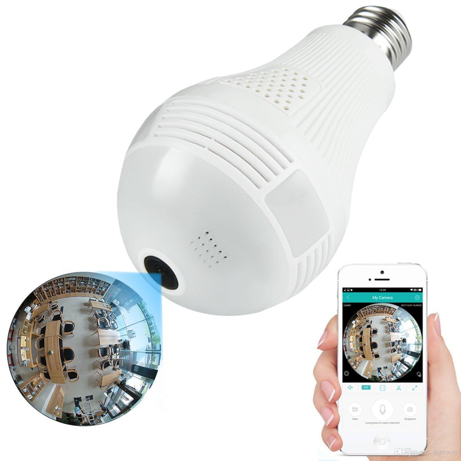 3MP 2MP 1 3MP Wireless IP Camera Bulb Light FishEye 360 Degree 3D VR Mini  Panoramic Home CCTV Security Bulb Camera IP