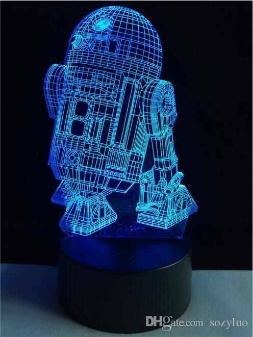 Robot R2D2-B 3D Night Light Visual Colour Gradient Switch Touch Remote Novelty Lighting Table Home Decor Child Sleeping Lamparas Lamp Gifts