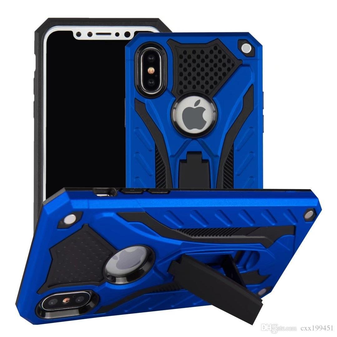 Caso de armadura Aubusen Luxe Híbrido À Prova de Choque Hard Iron Man Armor Defender Silicone Para Iphone X Samsung s8 s9
