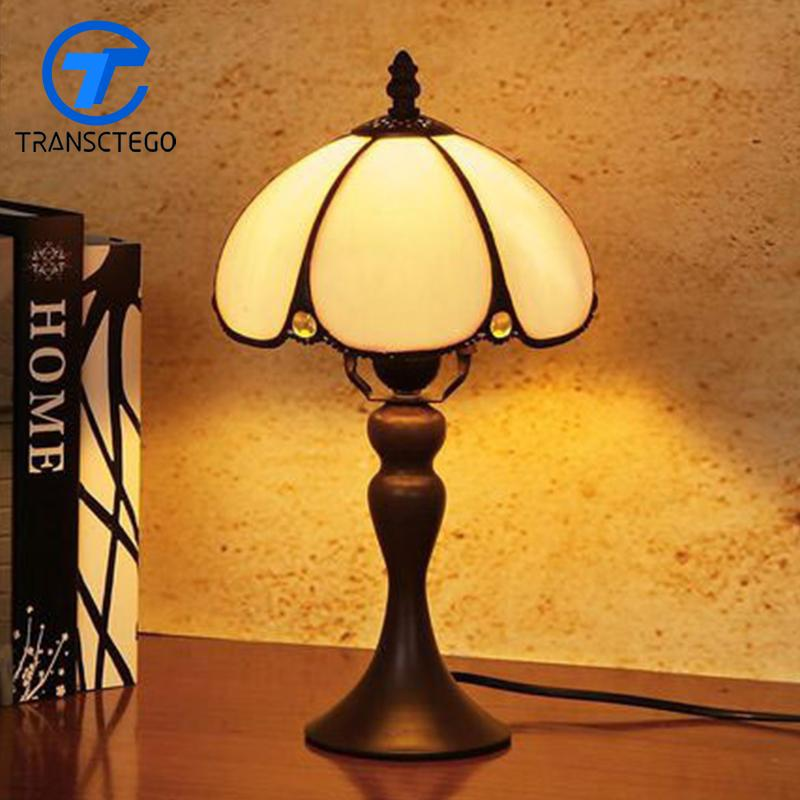 2019 Hand Drawing Vintage Desk Lamp Bedside Glass Lampshade Table