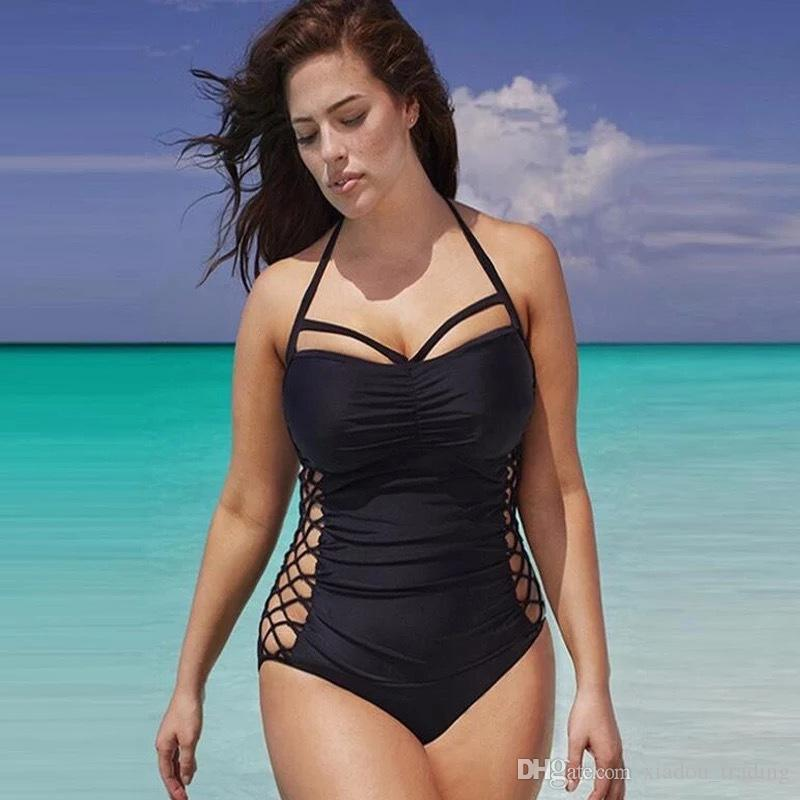c162b21f522 2019 2018 Summer Hot Bathing Suit One Pieces XL 4XL Swimsuit Black Classic  Style Obese Crowd Preferred Swimwear Bikini Set Bathing Suit Swim Wear From  ...