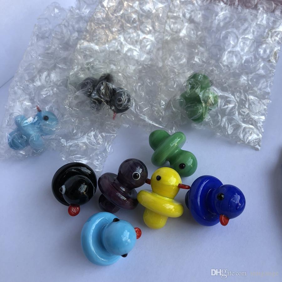 Neuestes festes farbiges Glasgelb-Enten-UFO-Carb Kappen-Haube für Glasbongs wässern Rohre, Tupfölplattformen, thermische P-Quarz-Trommel-Nägel
