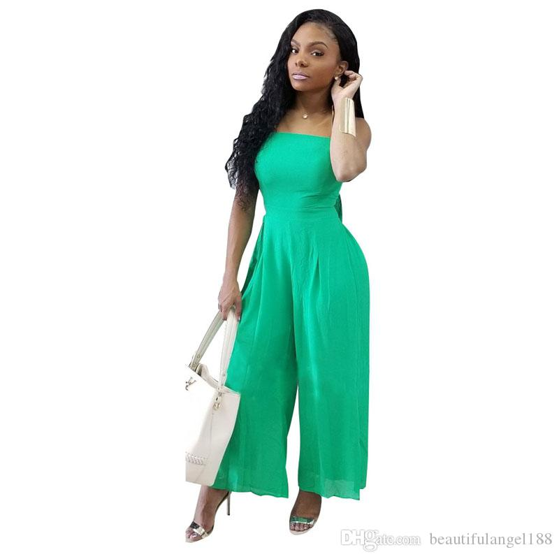 962c07be62 Spaghetti Strap Sexy Chiffon Jumpsuit Women Sleeveless Backless Wide Leg  Romper Summer Green Bow Plus Size Casual Overall
