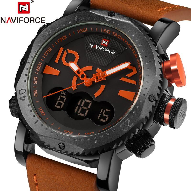 7779f05a3b7 Compre NAVIFORCE Reloj Militar Homens Relógio Esportivo Mens Relógios Top  Marca De Luxo De Couro Do Exército Analógico Digital Quartz Relógio  Masculino ...