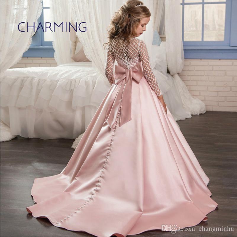 59487fb0f5 Compre Sereia Estilo Sheer Volta Vestidos De Noiva Vestidos Das Crianças  Meninas Laço De Cetim Arco Pequeno À Direita Flor Menina Vestido De  Princesa De ...