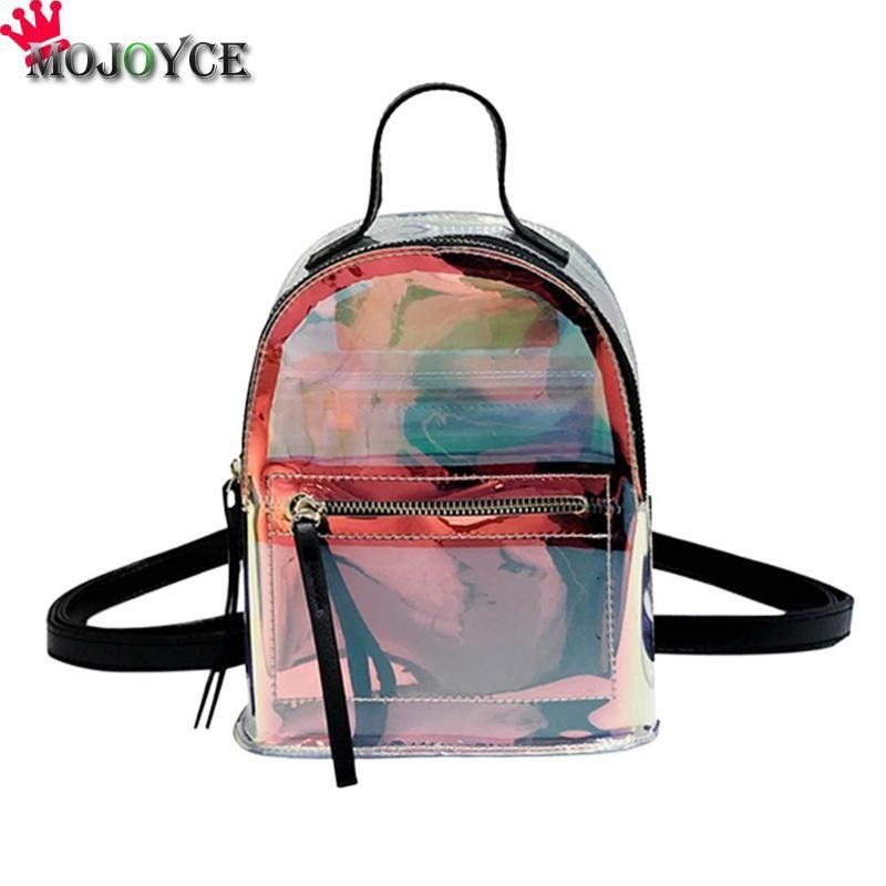 cde302584a0 2018 New Women PVC Transparent Backpacks Laser Clear School Girls Travel  Shoulder Bags Leisure Waterproof Bag Travel Girls Teen Backpacks For  College ...