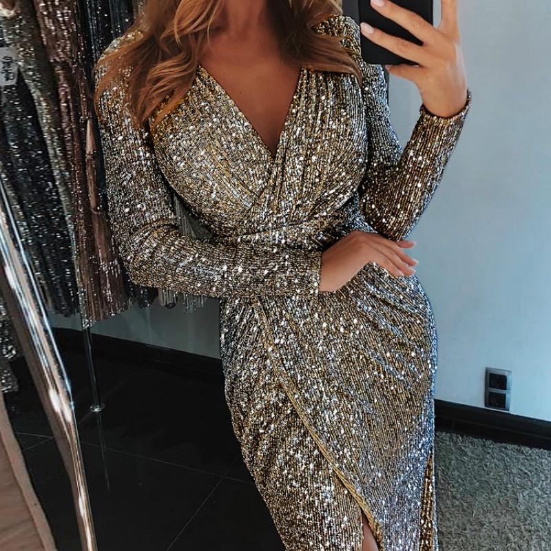 db825be079 Women Lighting Sparkly Bodycon Dress Sexy Split Night Dresses Autumn Long  Sleeve Midi Party Dress Sheath Sequin Clubwear
