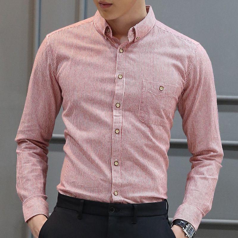Coton Marque Vente Chaude Mode Homme Chemise À Manches Longues Tops Simple Rayures Hommes Robe Chemises Slim Hommes Chemise