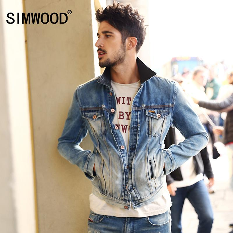 7302637587 SIMWOOD Brand Cothing Denim Jacket Men 2018 New Arrival Autumn Turn-Down  Collar Casual Slim Outerwear Jaquetas Masculino NJ6501 D18100802