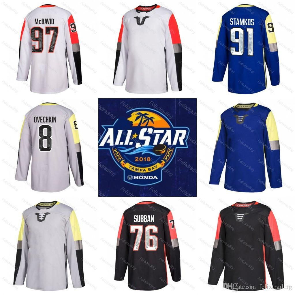 2019 2018 All Star Game Jersey Connor McDavid Steven Stamkos Alex Ovechkin  P.K. Subban Metro Atlantic Central Pacific Division Hockey Jersey From ... d8971f10a