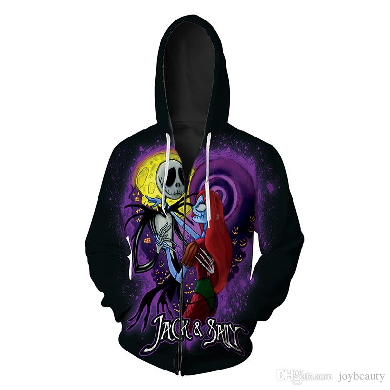 521da74a8542a8 Men Zipper Hoodie Halloween Skull 3D Full Printed Man Zip Hooded ...
