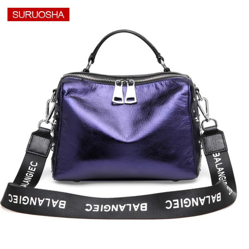 SURUOSHA Real Leather Bag Ladies Luxury Shoulder Bag Hole Design Women Bags  Luxury Street Designer Handbag Fashion Strap Purse Hobo Purses Leather Bags  For ... 331a63c395a7c