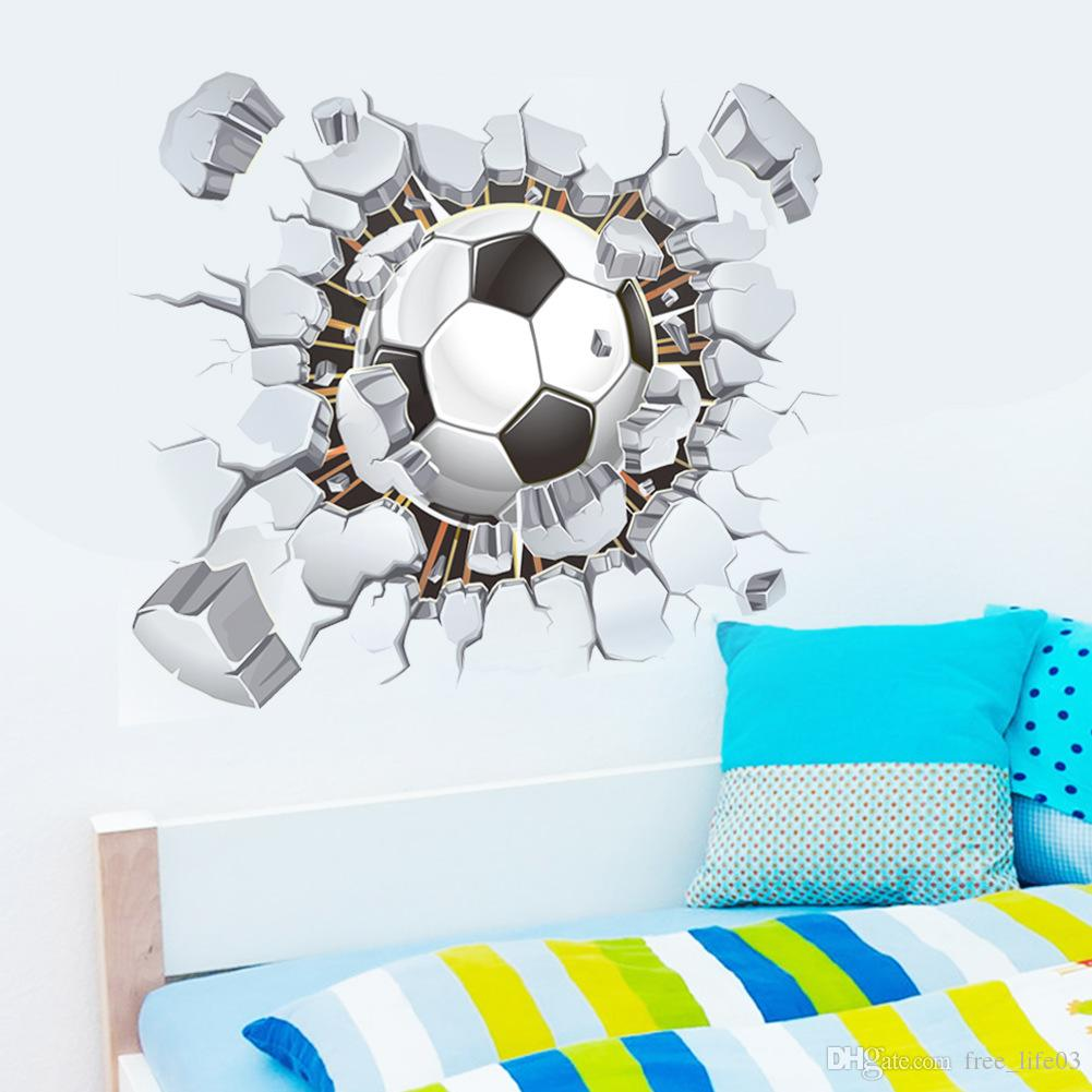 Wholesale flying football through wall stickers kids room decoration diy home decals soccer funs gift 3D mural art sport game