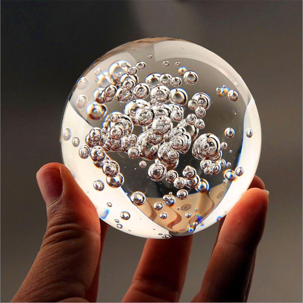 Cristal verre marbres fontaine d'eau bulle boule feng shui boules de verre décoratives maison fontaine d'eau intérieure figurines