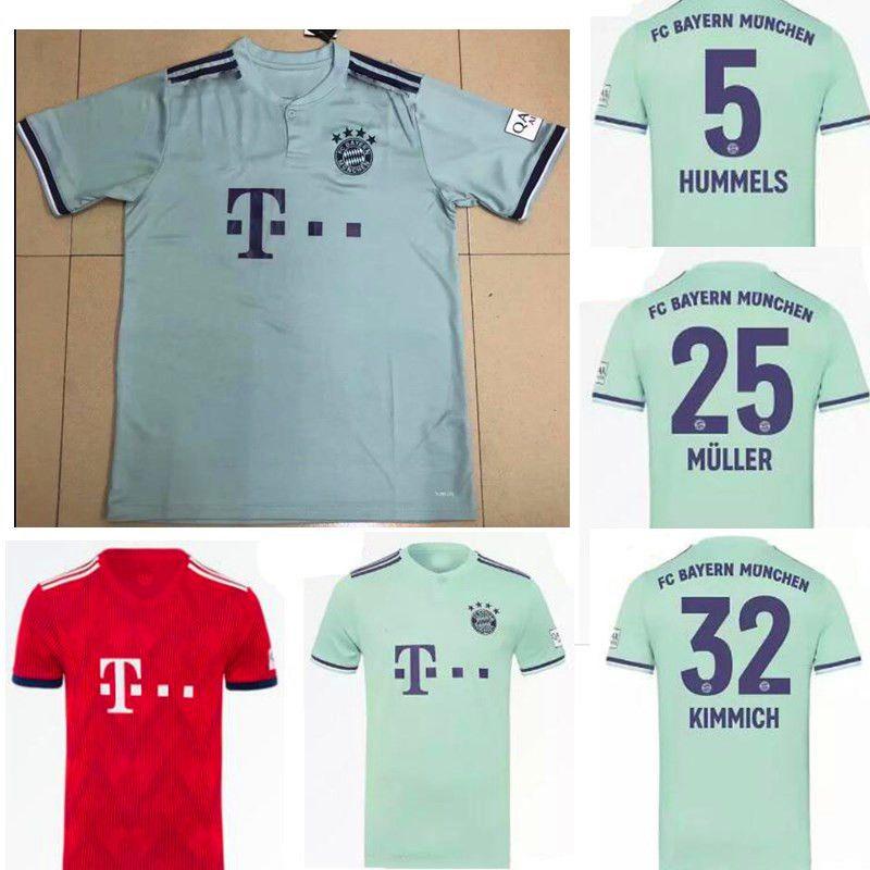 Compre 18 19 Camisa De Futebol Bayern De Munique 25 MULLER 10 ROBBEN 9  LEWANDOWSKI 11 23 VIDAL 27 RIBEIRA DE ALABA 2018 2019 Camisas De Futebol De  ... 3242e981be8f2