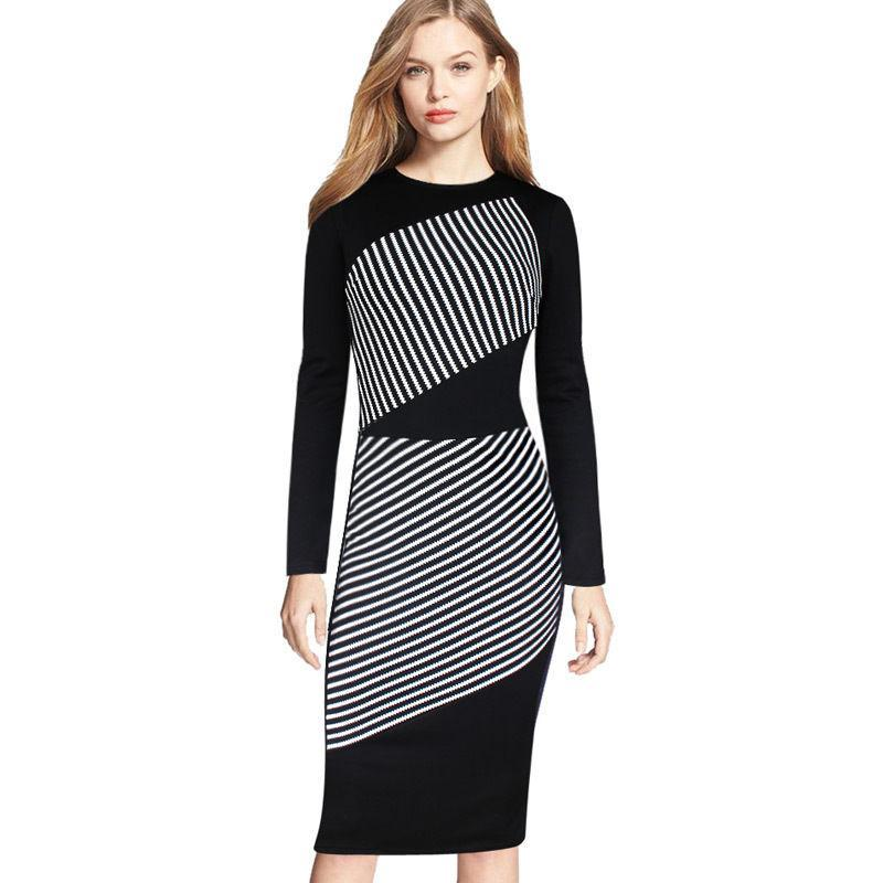 New Plus Size Women Dress Black/White Striped Long Sleeved Dresses ...