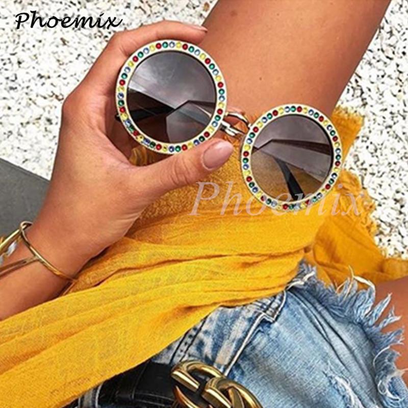 fe803b7fd3 Compre Phoemix Redondo Colorido Diamante Modis Gafas De Sol Gafas De Sol  2019 Vintage Lujo Mujeres Diseñador De La Marca Gafas De Sol Marco De Metal  A ...
