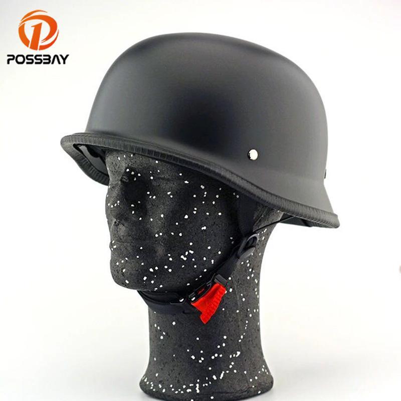 Possbay Black Motorcycle Helmet Retro Scooter Helmet Open Face
