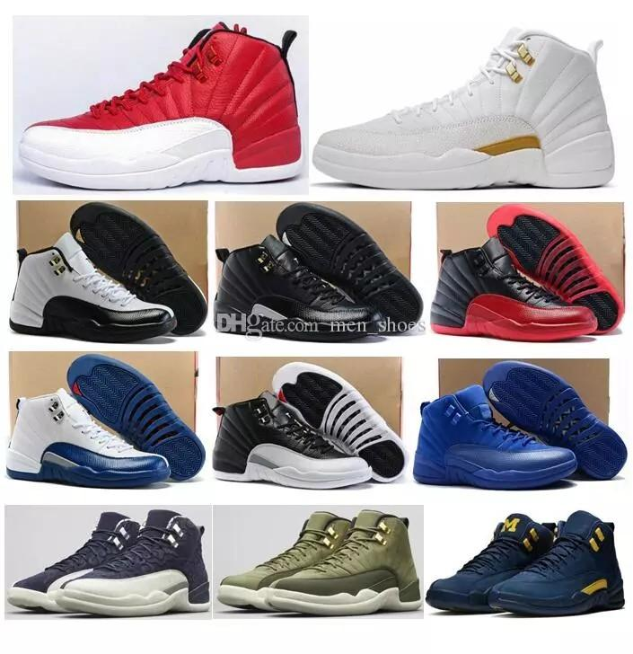 74d8396f84b08a 2019 High Quality 12 12s OVO White Gym Red Master Basketball Shoes Men  Women Taxi Blue Suede Flu Game Olive Canvas Sneakers With Box From  Gaopizhi